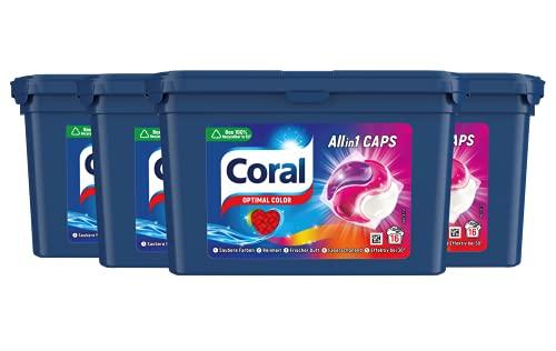 Coral Allin1 Caps Waschmittel Optimal Color Colorwaschmittel für bunte Wäsche mit langanhaltendem Duft 4 x 16 WL (= 64 Caps)y, 1356 g