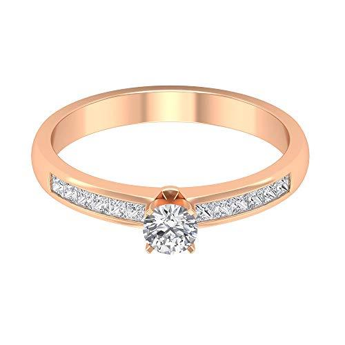 0,61 ct Antik Diamant Solitär Statement Ring, Frauen Sidestone Versprechen Ring, SGL Certified Princess Schliff Diamant Gold Ring, Hochzeit Brautjungfer Ring, 14K Roségold, Size:EU 65