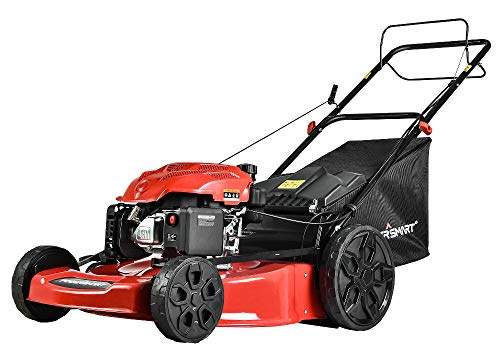 PowerSmart Lawn Mower, 22-inch & 200CC, Gas Powered Self-Propelled Lawn Mower with 4-Stroke Engine, 3-in-1 Gas Mower in Color Red/Black, 5 Adjustable Heights (1.18''-3.02''), DB9422SR