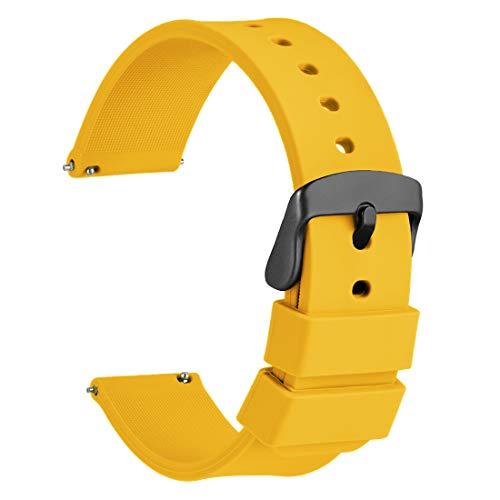 WOCCI 22mm Silikon Gummi Uhrenarmband mit Schwarzer Schnalle, Schnellverschluss Ersatzarmband(Gelb)