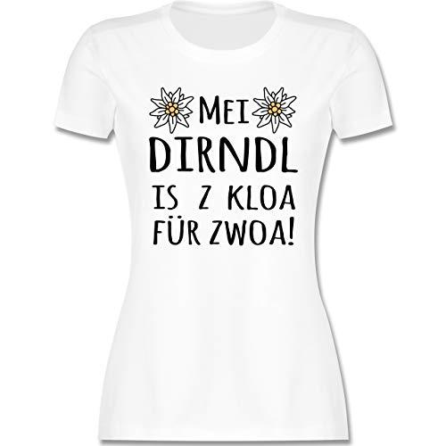 Oktoberfest & Wiesn Damen - MEI Dirndl is z kloa für zwoa! schwarz - M - Weiß - MEI Dirndl is z kloa für zwoa weiß - L191 - Tailliertes Tshirt für Damen und Frauen T-Shirt