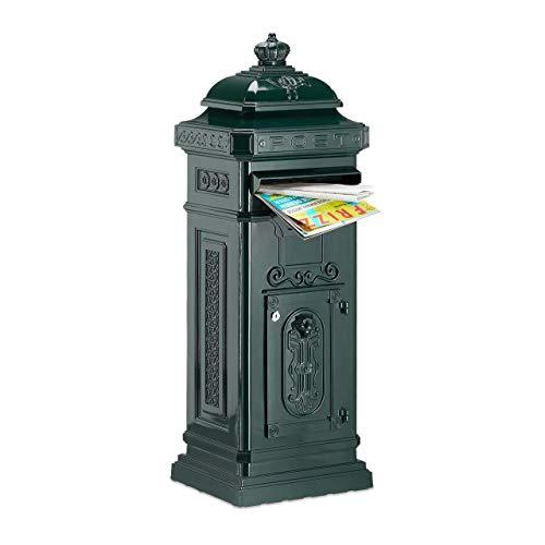 Relaxdays Standbriefkasten Antik, britisches Design, rostfreies Aluminium, HBT: 101x34,5x31 cm, Säulenbriefkasten, grün