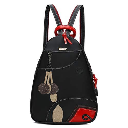 Eshow Damen Rucksackhandtasche Umhängetasche Rucksack klein für Mädchen schwarz Schultertasche mit Fächern und Libelle-Muster zum Alltag Reise Schule