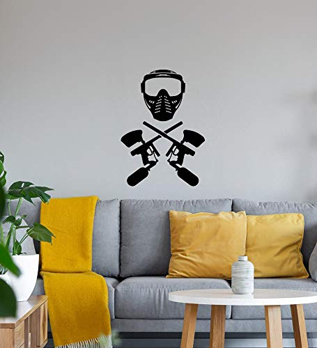 shirt84.de - Adhesivo decorativo para pared (40 x 55 cm), diseño de máscara de Paintball y arma