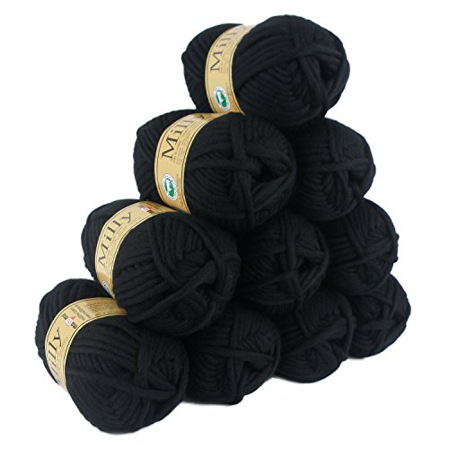 500g Filzwolle Milly Wolle zum Strickfilzen 100% Schurwolle, große Farbwahl, Farbe:22 schwarz