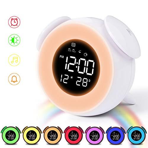 HOMVILLA Digitale wekker, dubbele alarm, licht, wakker worden, nachtlampje, tafel, bedlampje met snooze touch control functie, 25 natuurlijke geluiden, USB-aansluiting voor nachtkastje, slaapkamer wit