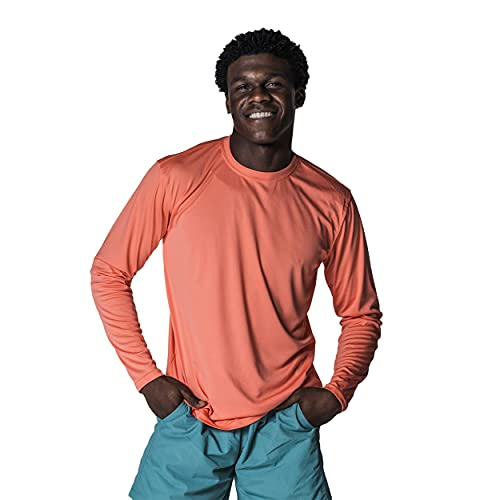 Vapor Apparel Men's UPF 50+ UV Sun Protection Long Sleeve Performance T-Shirt for Sports and Outdoor Lifestyle, XXXX-Large, Salmon