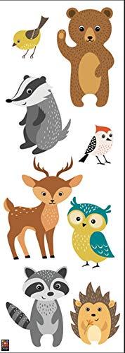 PLAGE 152565Decorativo Adesivo da Parete Animali della Foresta–Bambini in Vinile, 68x 0,1x 24cm, Multicolore