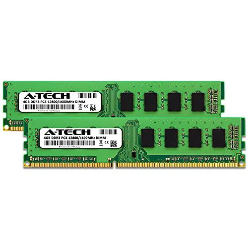 A-Tech RAM 8GB (2x4GB) DDR3 1600 MHz DIMM PC3-12800 (PC3-12800U) CL11 Non-ECC UDIMM 240 Pin - Desktop PC Computer Memory Upgrade Kit