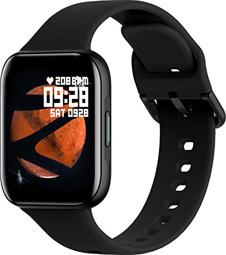 ZEBRONICS Zeb-Fit1220CH Smart Fitness Band, 2.5D Curved Glass Full Touch Display, SpO2, BP & Heart Rate Monitor, IP67 Water Resistant, 7 Sports Mode (Black Rim + Black Strap)