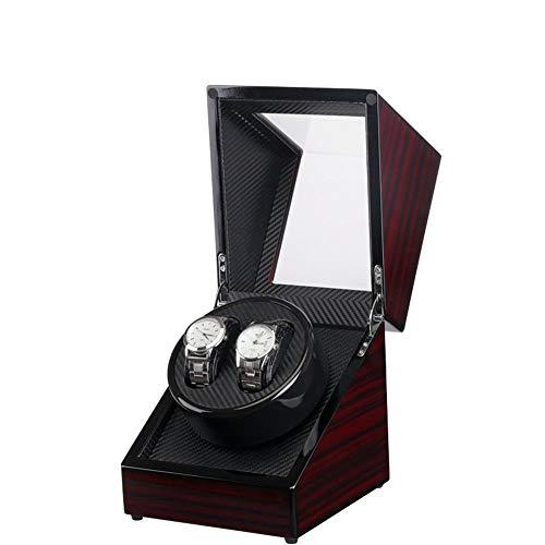 MAATCHH Cajas de reloj Caja de reloj Caja de motor eléctrico Pintura de ébano dentro de fibra de carbono Coctelera eléctrica de cuero Bobinado automático simple y elegante (color: negro, tamaño: S)