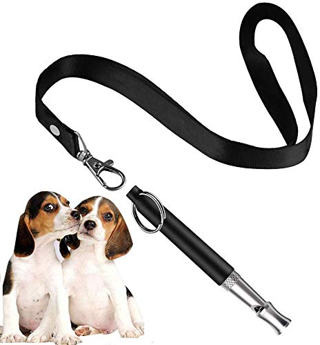 BMHNOONE Dog Whistle to Stop Barking, Adjustable Pitch Ultrasonic Training Tool Silent Bark Control for Dogs- Pack of 1 PCS Whistles with 1 Free Lanyard Strap