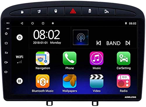 FDGBCF Navegación GPS para Peugeot 308408 2010-2016, Radio de Coche con Pantalla táctil de 9 Pulgadas Reproductor Multimedia FM/Bluetooth/Control del Volante/Conexión de Espejo, 4G + WiFi 4 + 64G