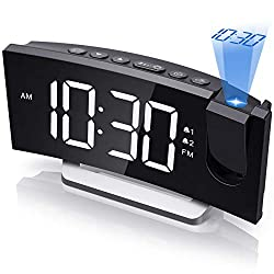 Projection Alarm Clock, Digital Bedroom Clocks Radio with USB Charger, 0-100% Full Range Brightness Dimmer, Dual Alarms with 5 Sounds for Heavy Sleeper, Snooze, 5.5'' Large Curved Led Display