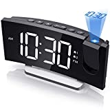 Mpow Projection Alarm Clock Bedside Mains Powered with FM Radio and USB Charger, Large Digital Display, Adjustable Brightness for Screen and Projector, Snooze, Sleep Timer, 12/24H Setting for Bedroom