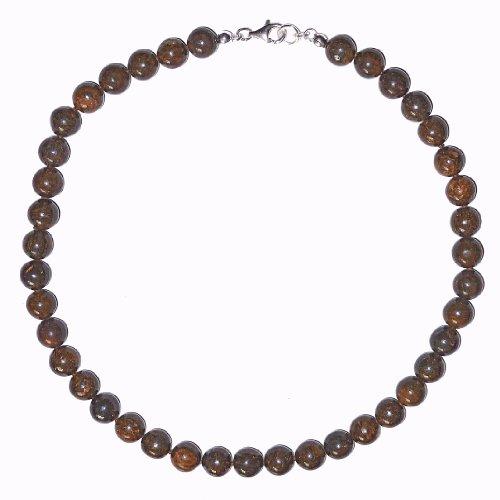 Bronzit Schmuck (Halskette) Bronzit Kette Bronzit Kugeln Größe ca. 10 mm mit Perlseide geknotet Verschluss 925er Sterling-Silber Modellnummer 143