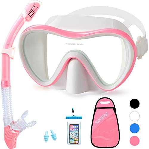 Supertrip Snorkel Set Adults-Anti-Fog Film Scuba Diving Mask Impact Resistant Panoramic Tempered Glass Easybreath Anti-Leak Dry Top Snorkeling Packages with Waterproof Case & Carrying Bag (White pink)