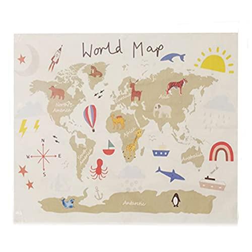 tyrrdtrd Wandteppich, Weltkarte, Baumwoll-Leinwand, Weltkarten-Druck, Wandteppich, Wohnheim-Wanddekoration – Karte