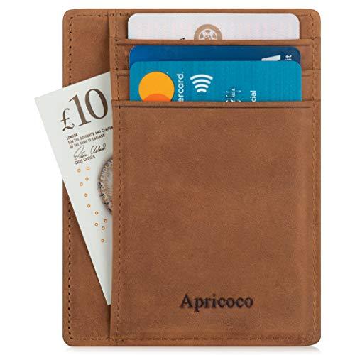 Brieftasche mit RFID-Schutz - Ultimativ Schlanke und Sichere Geldbörse von Apricoco aus Echtleder, Platz für bis zu 7 Karten und Bargeld, Portemonnaie Herren, Kreditkartenetui, Slim-Wallet Geldtasche