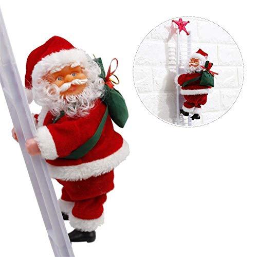 Queta Santa Claus Escalera, Eléctrico Papá Noel en Escalera Paredes, Ventanas, Jardín y Árbol de Navidad Juguete para Navidad