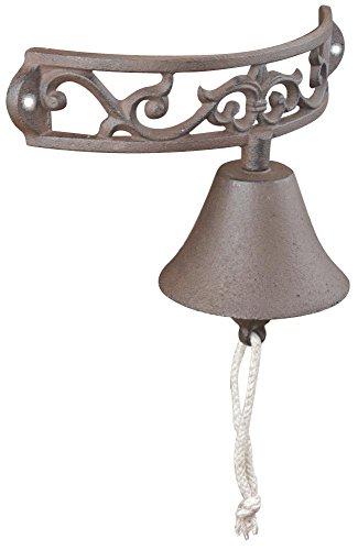 Esschert Design Türglocke halbrund aus Gusseisen und Baumwollkordel, 23,0 x 11,5 x 13,3 cm