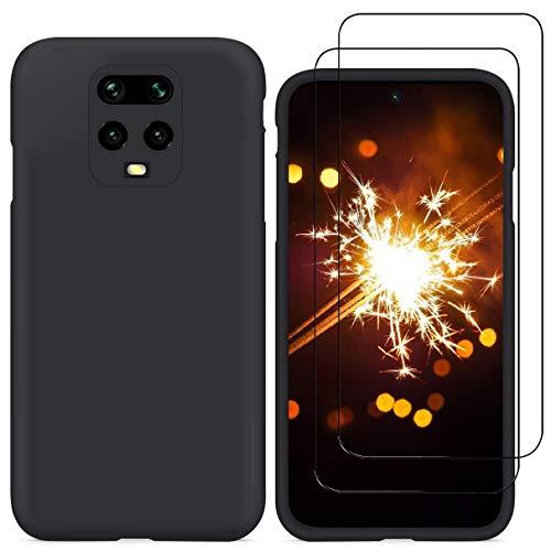 YiKaDa - Hülle für Xiaomi Redmi Note 9S / Note 9 Pro/Note 9 Pro Max + [2 Stück] Panzerglas Schutzfolie, Weiches TPU Silikon Schutzhülle mit Weichem Mikrofaser-Innenfutter Abdeckung - Schwarz