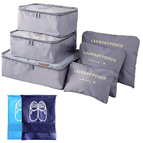 8 Packing Cubes Foldable Portable Travel Storage Bags 3 Travel Luggage Organiser 3 Compression Pouches 2 Shoe Bag