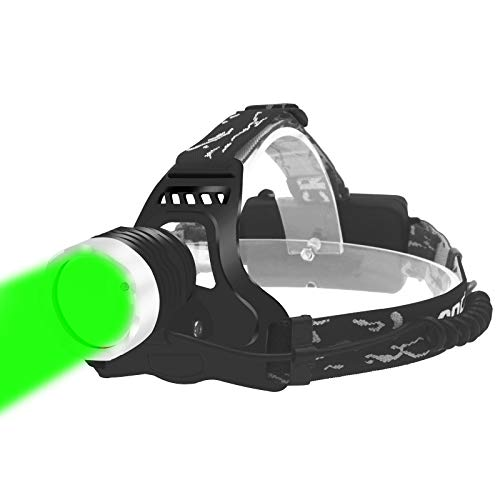 Green Light Headlamp Long Range Hunting Headlamp Green LED Headlamp,Waterproof Green Headlight for Predator Hunting, Astronomy and Night Observation