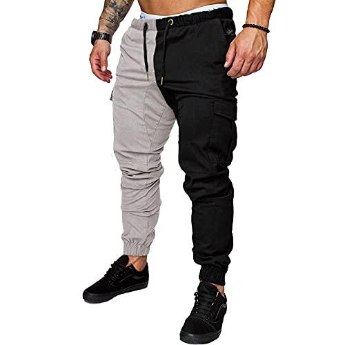 Eaylis Herrenmode Casual Pants Elastic Band Jogginghose Cotton Loose Patchwork Pants, Männer Sport Hosen Straight Jeans Trainingshose Hose Casual mit Stretch Jogginghose Trainingshose