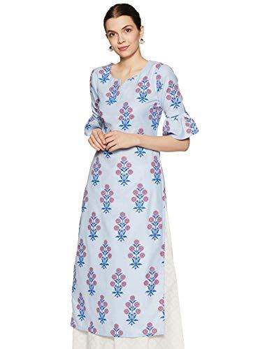 Libas Women's Cotton Straight Kurta (7636_Blue_Small)