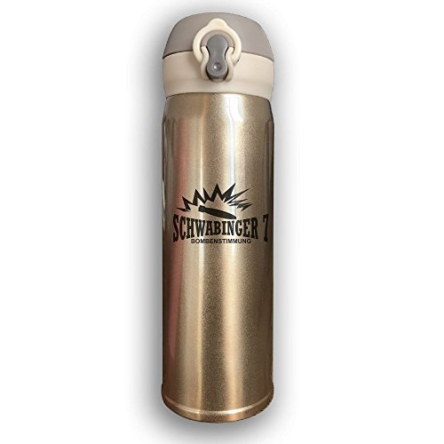 Stainless Water Bottle 500ML Designed Schwabinger7 Aircraft Bomb,Sports Drinking Bottle,Leak-Proof Vaccum Cup,Travel Mug,With Bounce Cover,Yellow