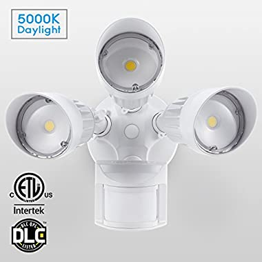 30W 3-Head Motion-Activated LED Outdoor Security Light, Photocell Included, Newly Designed 3 Lighting Modes, 5000K Daylight, Waterproof, 150W Halogen Equiv. Illumination for Yard, Garage, White