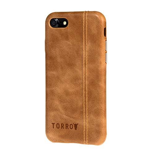 """TORRO Funda Carcasa Bumper Compatible con Apple iPhone SE (2020) y iPhone 8/7 Cuero Genuino de Calidad [Compatible con Qi] [Forrado en Microfibra] [Botones de Metal Cepillado] 4.7"""" (Marrón Claro)"""