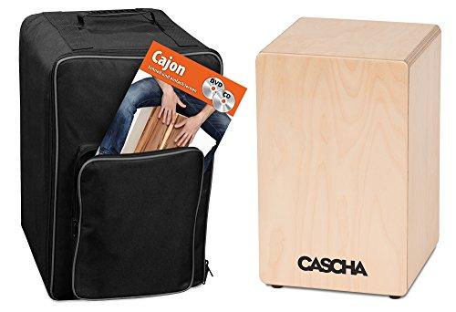 CASCHA Cajon Box Natur Set mit Rucksack und Cajonschule mit CD und DVD, für Einsteiger und...