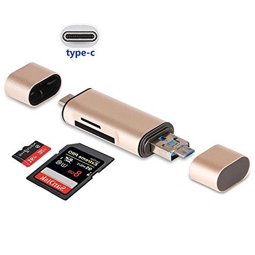 zedela Lector de Tarjetas SD/Micro SD, Lector de Tarjetas 3-en-1 Micro USB a USB 2.0 Adaptador con Estándar USB Macho/Micro USB/USB-C Macho Conector para PC, Teléfonos/Tablets con OTG Función