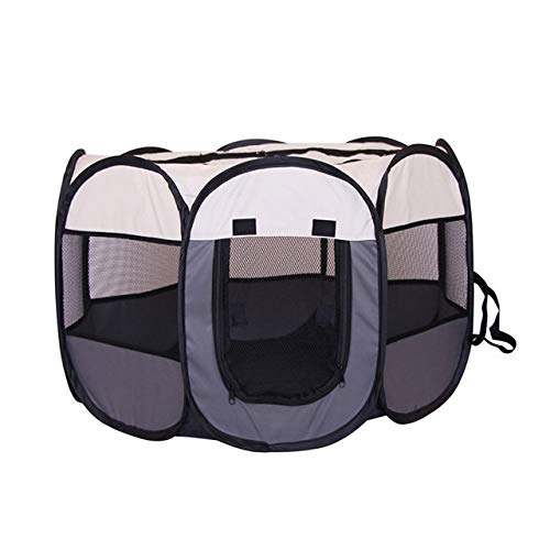 Trihedral-X Portable Folding Pet Big Tent Dog House Cage Dog Cat Tent Playpen Puppy Kennel Easy Operation Durable Outdoor Octagon Fence (Color : Gray, Size : 74x74x43CM)