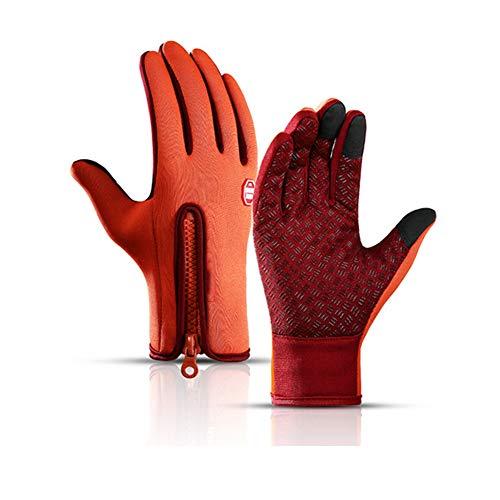 QLGRXWL Fahrradhandschuhe, Thermo-Handschuhe, Fahrradhandschuhe für Herren und Damen, zum Laufen, Radfahren, Wandern, Autofahren, Klettern, Orange, Größe S