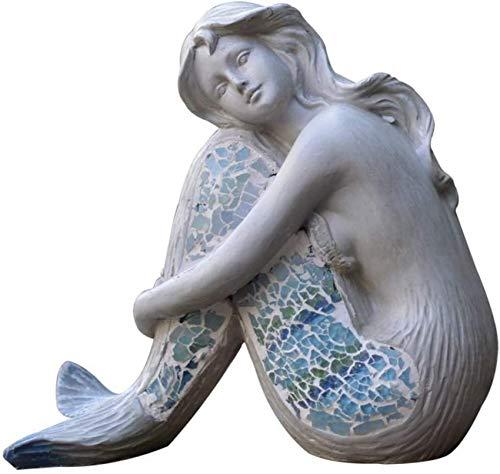 Mermaid Sitting S, Hermosa Figura de Sirena Ocean Atlantis, Adorno de Sirena para Interior y Exterior para Piscina, hogar, Sirena 20x10x19cm (8x4x7inch)