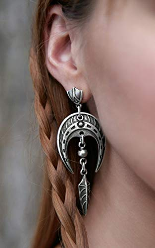 Celtic Viking Statement earrings Horseshoe earrings Nordic viking silver-plated with arrowhead pendants FREE SHIPPING