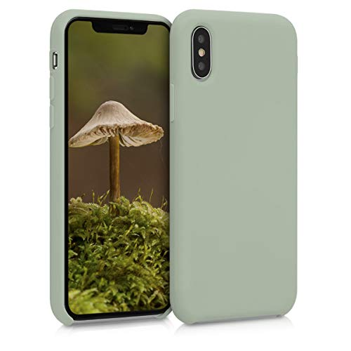 kwmobile Hülle kompatibel mit Apple iPhone XS - Handyhülle gummiert - Handy Hülle in Graugrün