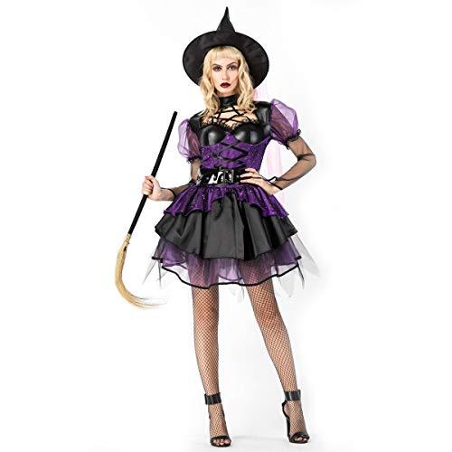 LOTOTLOMCA Disfraz De Bruja Disfraz De Bruja De Disfraces Cosplay Disfraz De Demonio Púrpura Disfraz De Tela De Fibra De Poliéster, Suave Y Cómodo, Incluyendo Vestido De Bruja + Sombrero