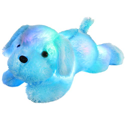 WEWILL LED Puppy Stuffed Animal Creative Night Light Lovely Dog Glow Soft Plush Toy Gifts for Kids on Christmas Birthday Valentines Festivals, 18-Inch, Blue