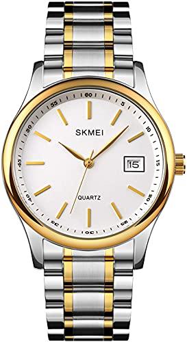 Par de relojes de acero inoxidable, pulsera de negocios, lujosos, analógicos, de cuarzo, fecha, reloj de pulsera para hombre y mujer, elegante set