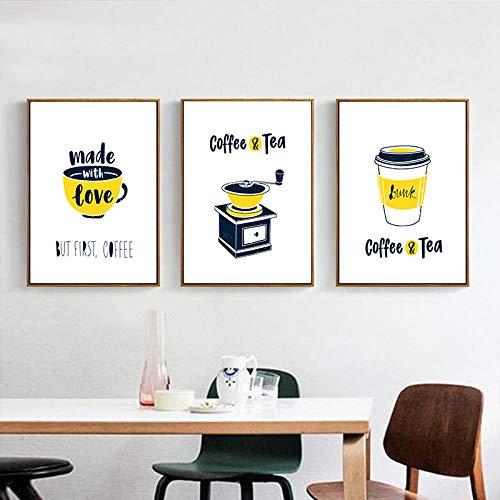 IGNIUBI Abstracte Koffie En Thee Machine Canvaskunst Poster Foto Muur Woonkamer Eetkamer Moderne Minimalistische Decoratie-50x70cmx3pcs geen frame