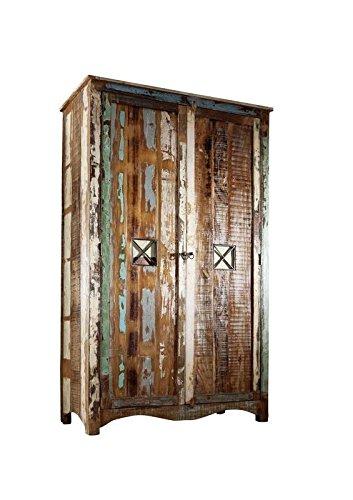 MASSIVMOEBEL24.DE Massivmöbel lackiert Altholz Holz massiv Kleiderschrank massiv Möbel Massivholz Mehrfarbig Nature of Spirit #42