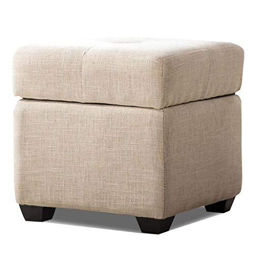 Banco de zapatos de almacenamiento simple de tela de madera cuadrado para sofá descanso sala de estar balcón pasillo multicolor opcional 40 cm x 40 cm x 40 cm HAODAMAI (color: caqui)