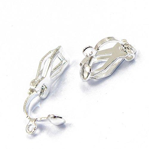 12pcs Ohrclips Clips Ohrringe Schmuck Earwire Findings Basteln Silber Weiß