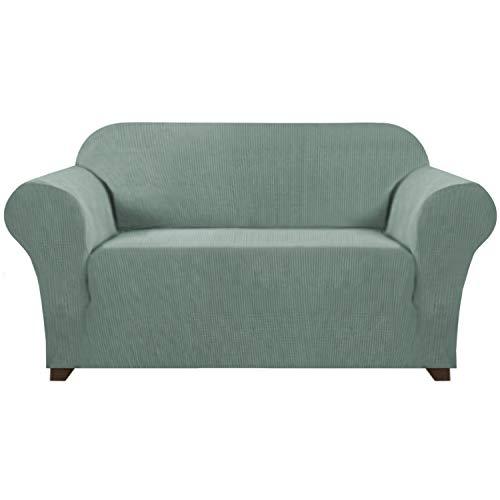 1 Stück Jacquard High Stretch Loveseat Schonbezug Polyester Spandex Sofabezug für 2 Kissen Couch Stilvolle Möbel Protector Cover für Sofa und Couch Maschinenwaschbar (Loveseat, Dark Cyan)