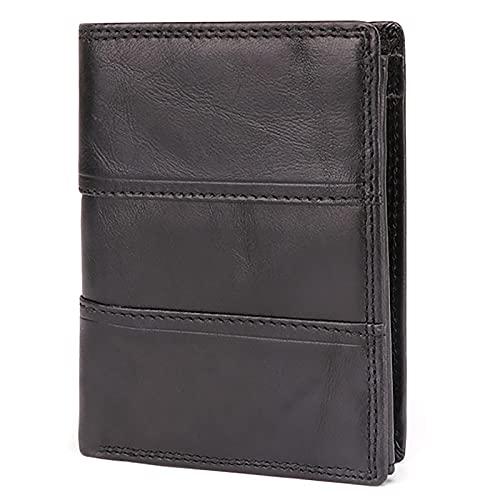 TTWLJJ Cartera para Hombre, Monedero con RFID Bloqueo con 10 Ranuras 10 Tarjetas, 2 Compartimentos para Billetes, 1 Bolsillo para Monedas con Botón,Negro