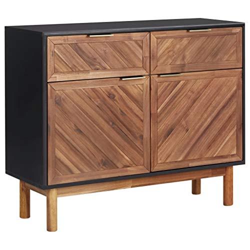 vidaXL Akazienholz Massiv Sideboard mit 2 Schubladen 2 Türen Kommode Anrichte Schrank Mehrzweckschrank Beistellschrank Standschrank 90x33,5x75cm MDF